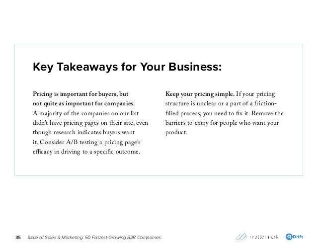 State of Sales & Marketing: 50 Fastest-Growing B2B Companies35 Key Takeaways for Your Business: Pricing is important for b...