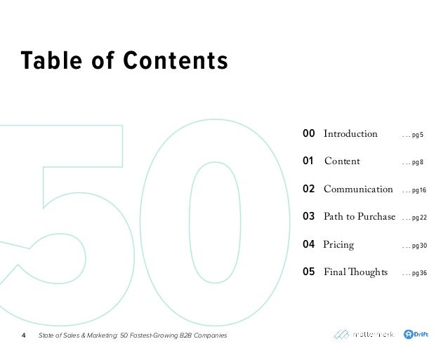 State of Sales & Marketing: 50 Fastest-Growing B2B Companies4 00 Introduction 01 Content 02 Communication 03 Path to Purch...