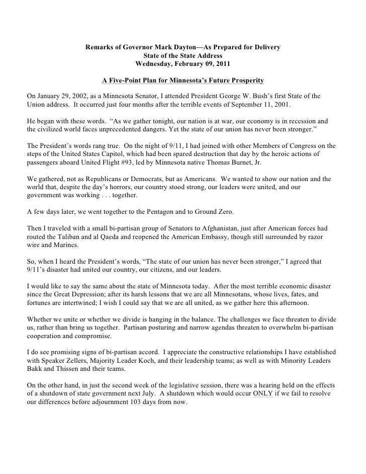 Remarks of Governor Mark Dayton—As Prepared for Delivery                                    State of the State Address    ...