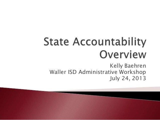 Kelly Baehren Waller ISD Administrative Workshop July 24, 2013