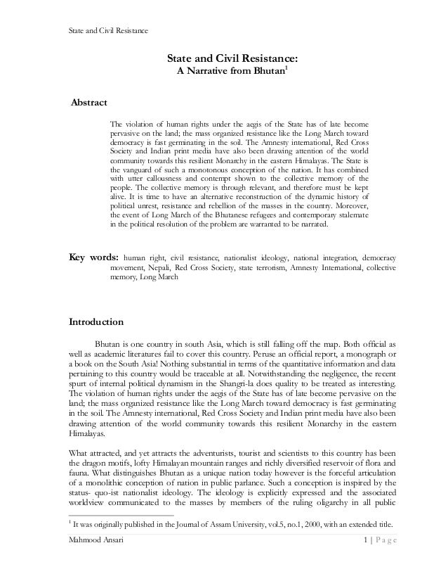 State and Civil Resistance  State and Civil Resistance: A Narrative from Bhutan1  Abstract The violation of human rights u...