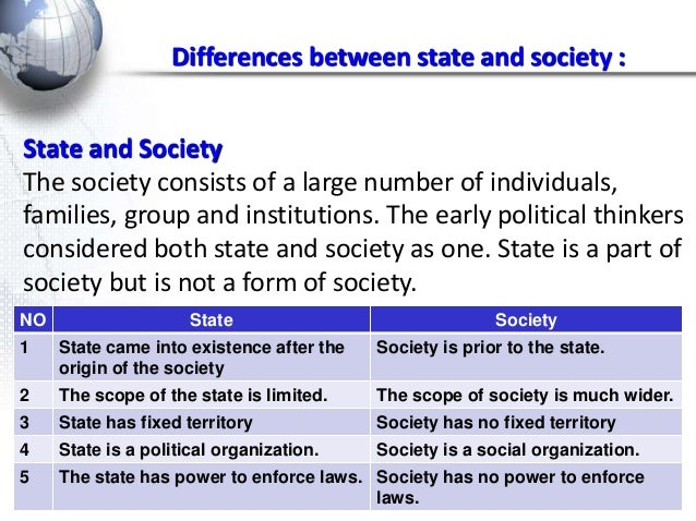 difference between state and society