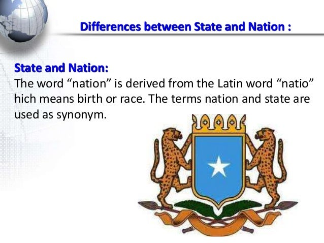 differentiate between a state and a nation