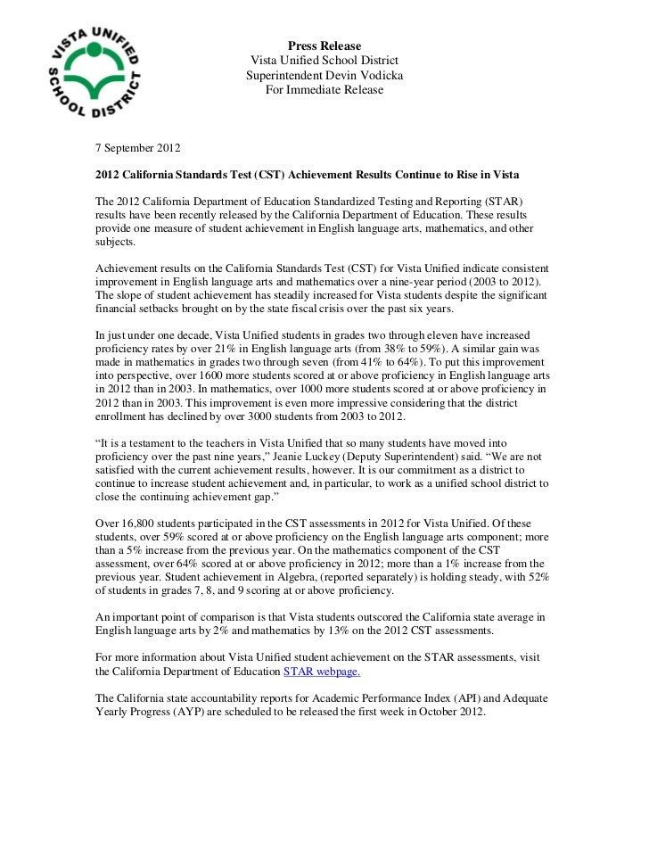 Press Release                                  Vista Unified School District                                 Superintenden...