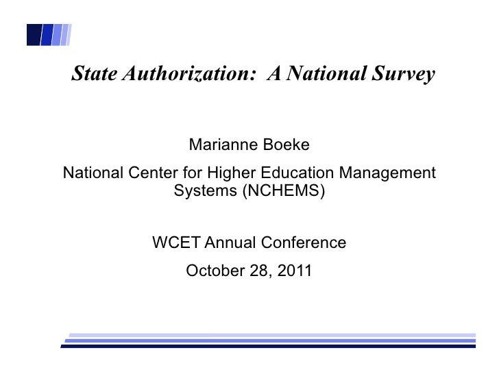 State Authorization:  A National Survey Marianne Boeke National Center for Higher Education Management Systems (NCHEMS) WC...