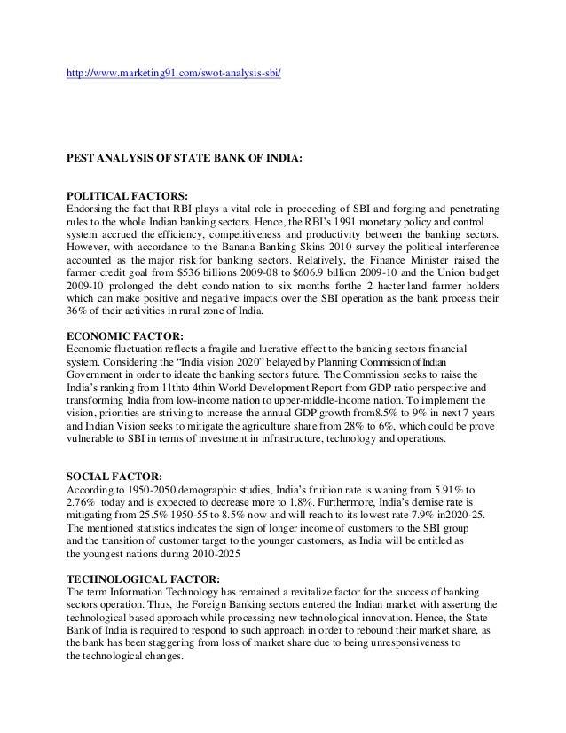 Pest analysis state bank of india
