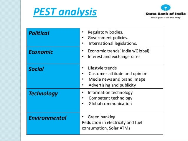 pest analysis state bank of india Swot analysis of sbi (state bank of india) is covered on this page along with its segmentation, targeting & positioning (stp) analysis of state bank of india (sbi.