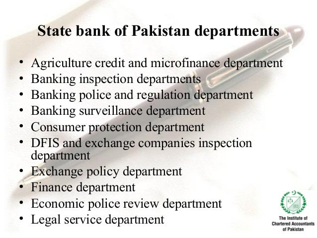 ... Payment system department; 16. THE ROLE OF STATE BANK OF PAKISTAN ...