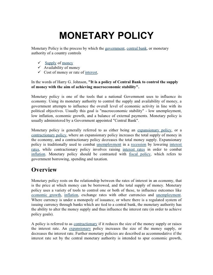 monetary policy australia essay Monetary policy, an australian essaysmonetary policy is a powerful tool for  manipulating the economy, its capacity is heightened by the floating exchange  rate.
