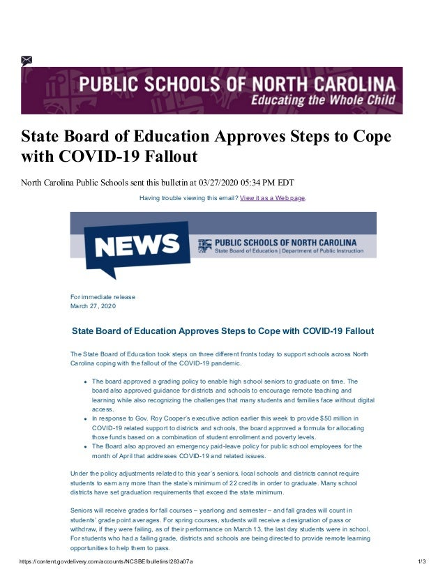 https://content.govdelivery.com/accounts/NCSBE/bulletins/283a07a 1/3 State Board of Education Approves Steps to Cope with ...