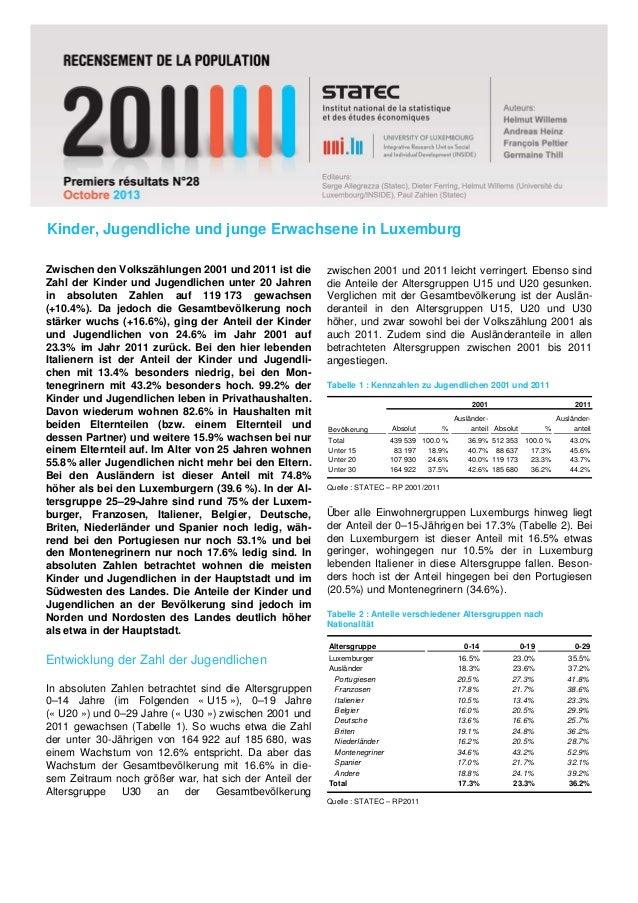 Kinder, Jugendliche und junge Erwachsene in Luxemburg Zwischen den Volkszählungen 2001 und 2011 ist die Zahl der Kinder un...
