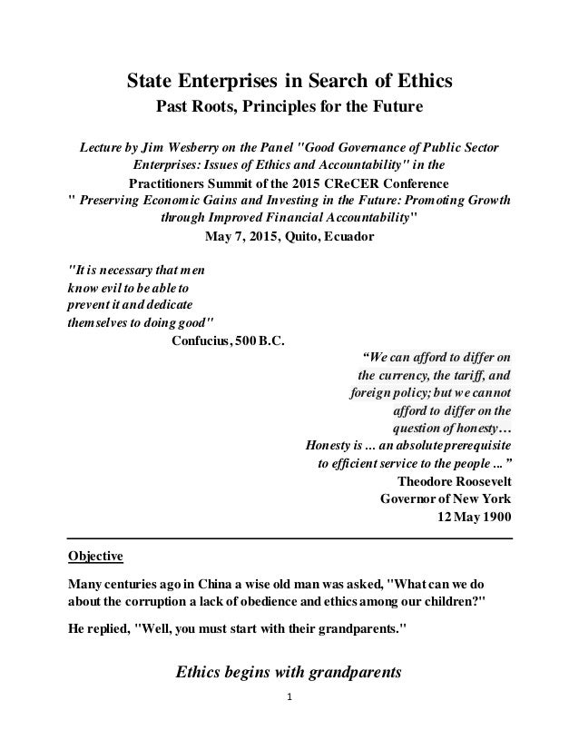 """1 State Enterprises in Search of Ethics Past Roots, Principles for the Future Lecture by Jim Wesberry on the Panel """"Good G..."""