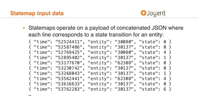 Statemap input data • Statemaps operate on a payload of concatenated JSON where each line corresponds to a state transitio...