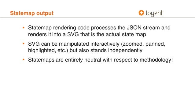 Statemap output • Statemap rendering code processes the JSON stream and renders it into a SVG that is the actual state map...