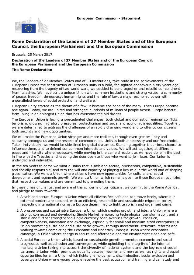 Rome Declaration of the Leaders of 27 Member States and of the European Council, the European Parliament and the European ...