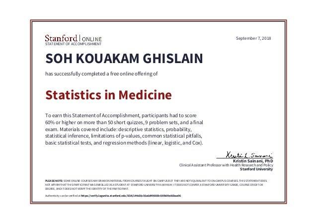Statistics in Medicine - Stanford Online Certificate