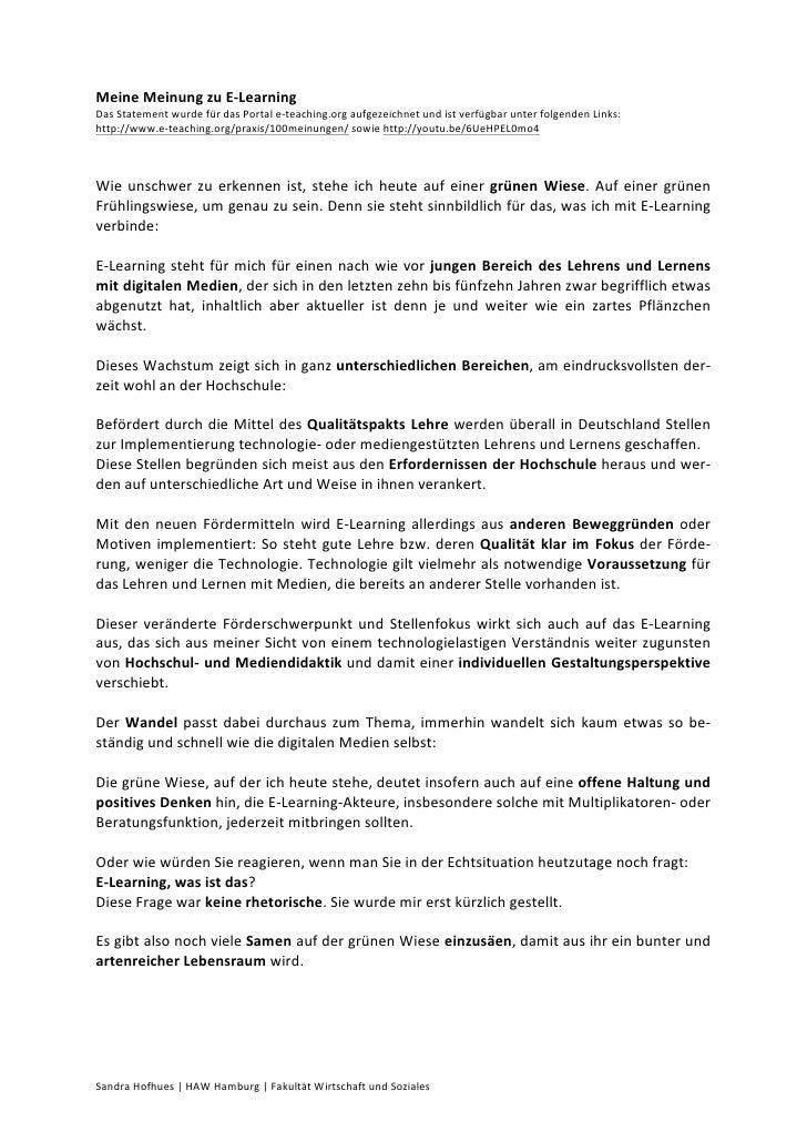 Meine Meinung zu E-‐Learning  Das Statement wurde für das Portal e-‐teaching.org aufgezeichnet ...
