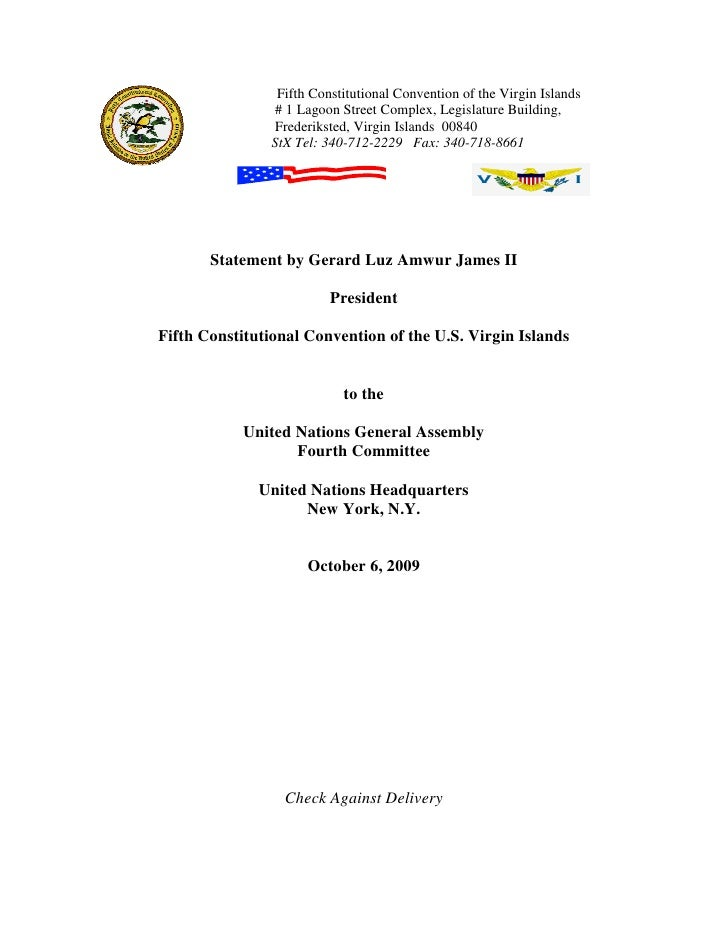 Fifth Constitutional Convention of the Virgin Islands                # 1 Lagoon Street Complex, Legislature Building,     ...