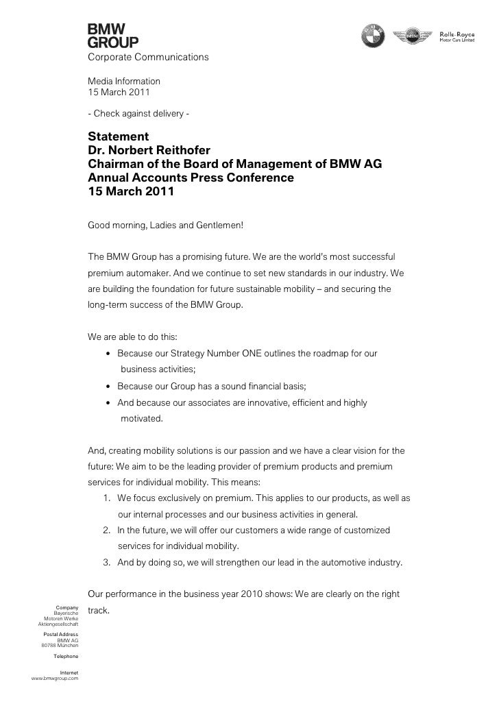 Corporate Communications                       Media Information                       15 March 2011                      ...
