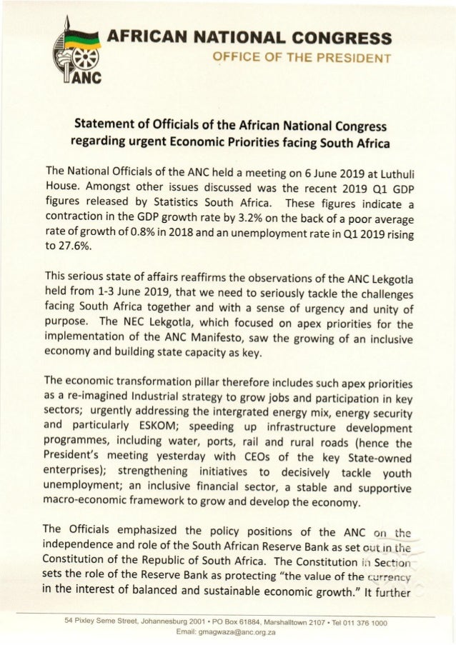 Statement by ANC President Ramaphosa on Economy