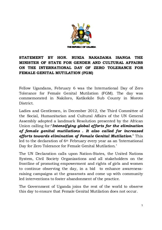 STATEMENT BY HON. RUKIA NAKADAMA ISANGA THEMINISTER OF STATE FOR GENDER AND CULTURAL AFFAIRSON THE INTERNATIONAL DAY OF ZE...