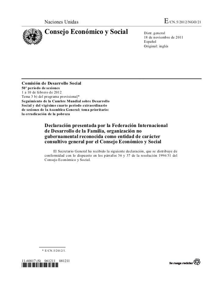 Naciones Unidas                                                             E/CN.5/2012/NGO/21             Consejo Económi...