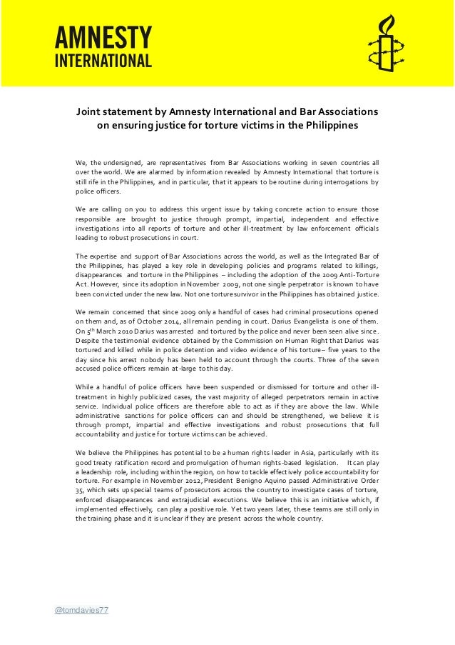 @tomdavies77 Joint statement by Amnesty International and Bar Associations on ensuring justice for torture victims in the ...