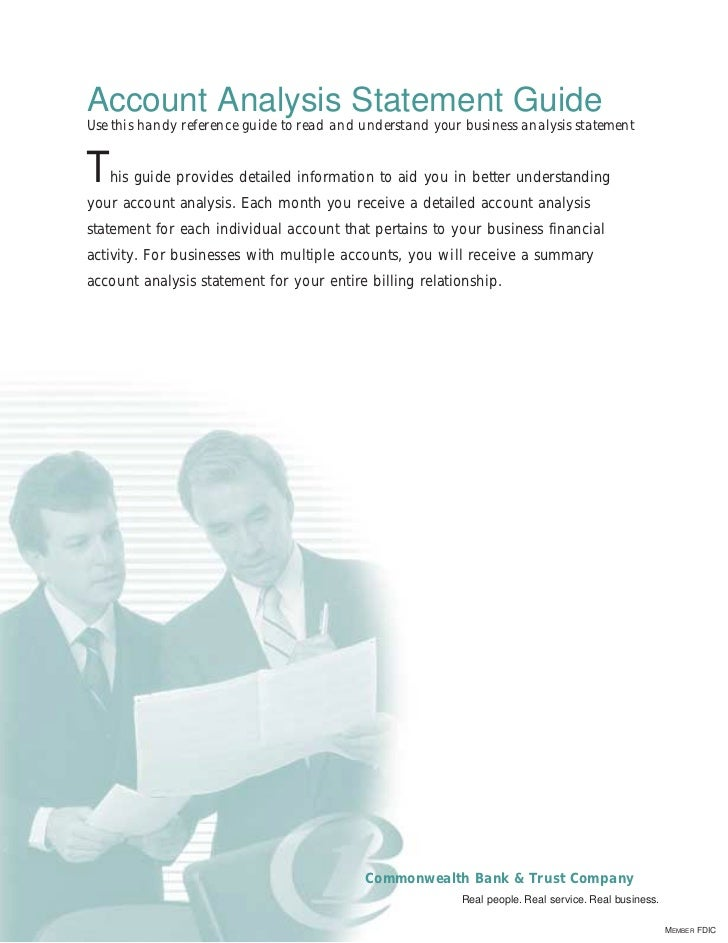 Account Analysis Statement GuideUse this handy reference guide to read and understand your business analysis statementT  h...