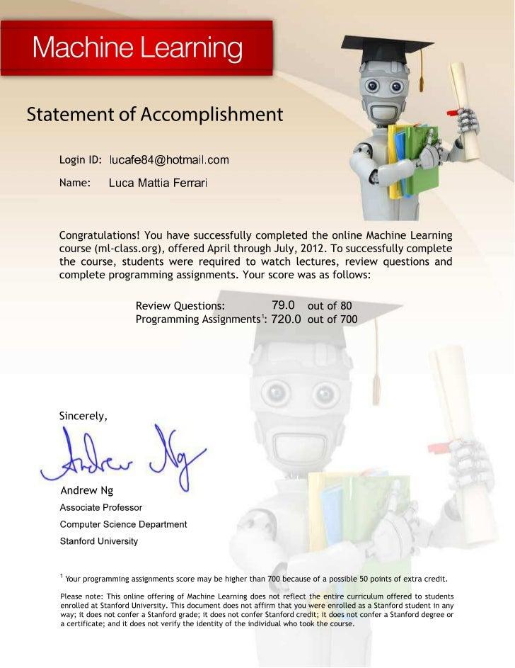 Statement Of Accomplishment Machine Learning