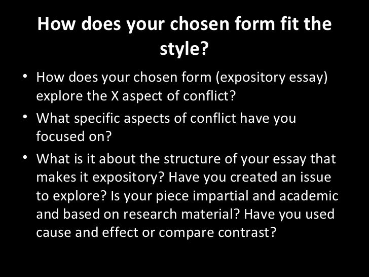 expository essay on conflict Every student needs to master the skill of expository essay writing these tips can guide elementary, middle school, and high school writers with writing an expository essay.