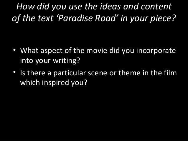 Paradise Road Practice Essay#1