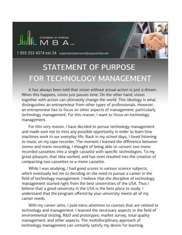 Technology Management Image: Statement Of Purpose For Technology Management Sample