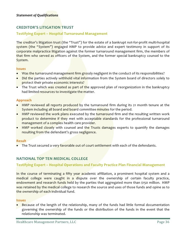 Healthcare Management Partners: Statement of qualifications