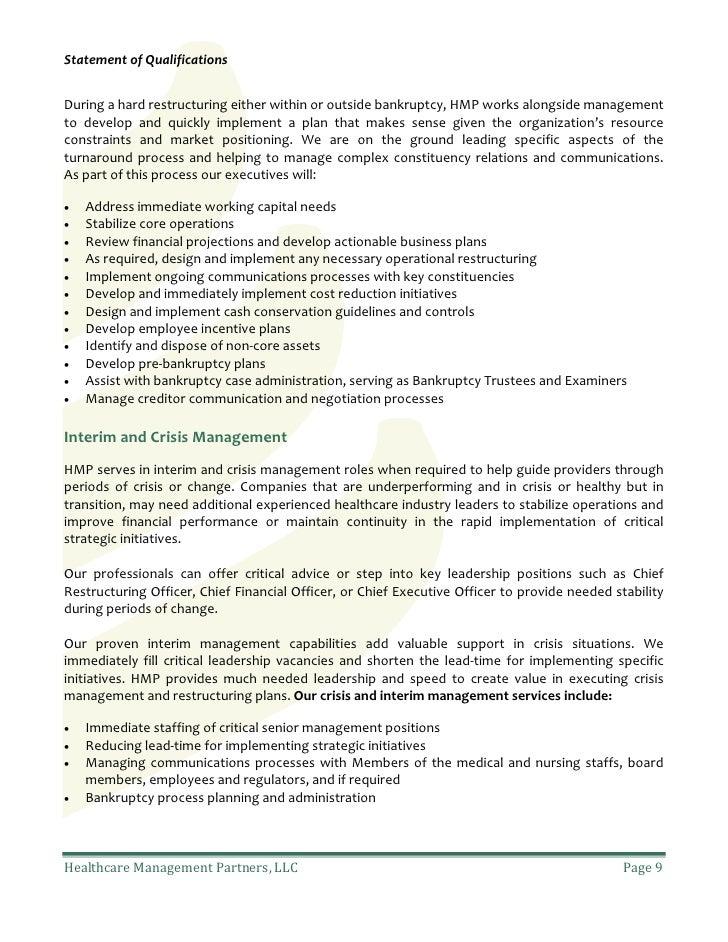 Statement Of QualificationsDuring ...