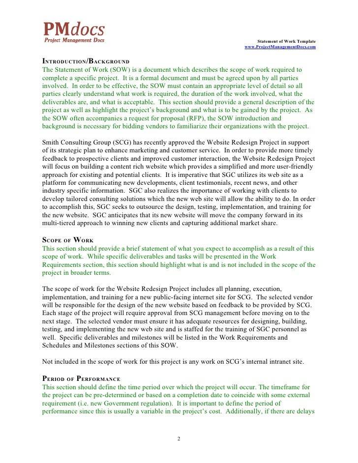 Government Statement Of Work Template Image collections - Template ...