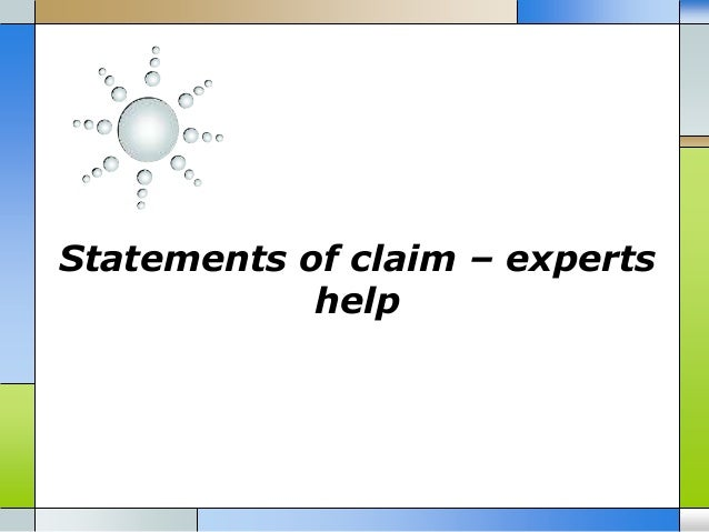 Statements of claim – experts help