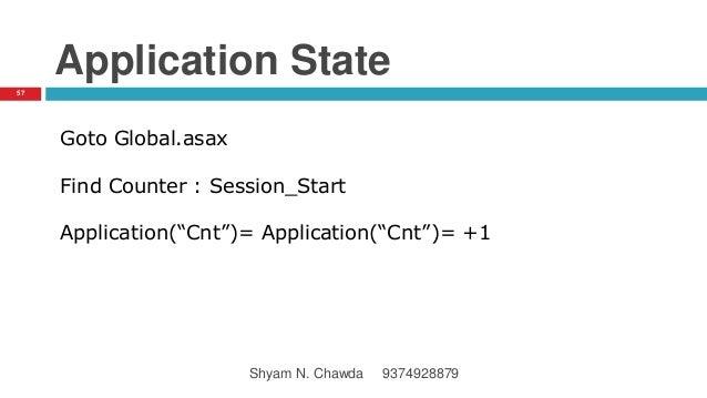 """Application State Goto Global.asax Find Counter : Session_Start Application(""""Cnt"""")= Application(""""Cnt"""")= +1 57 Shyam N. Cha..."""