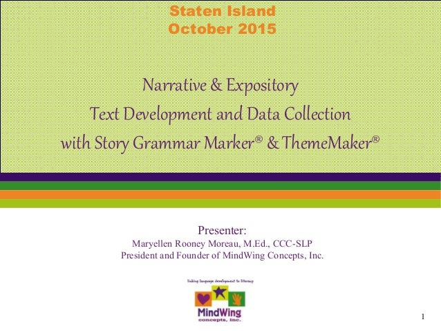 Presenter: Maryellen Rooney Moreau, M.Ed., CCC-SLP President and Founder of MindWing Concepts, Inc. Narrative & Expository...