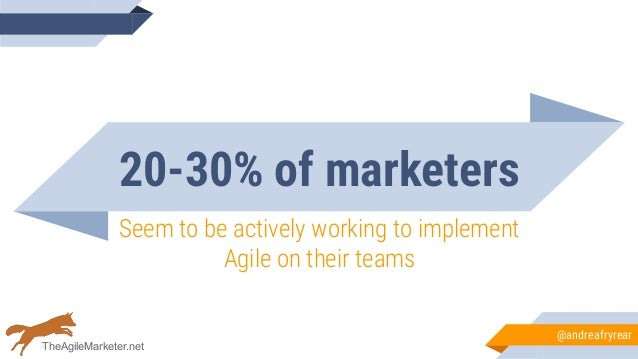 20-30% of marketers Seem to be actively working to implement Agile on their teams @andreafryrear TheAgileMarketer.net