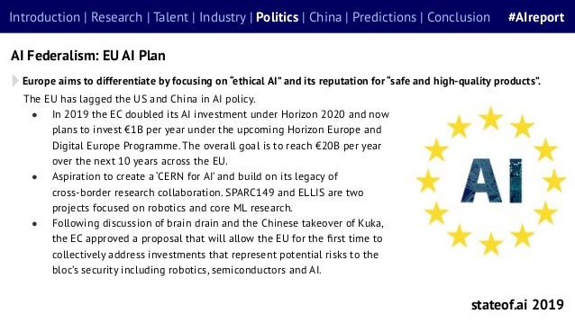 stateof.ai 2019 Introduction | Research | Talent | Industry | Politics | China | Predictions | Conclusion #AIreport AI Fed...