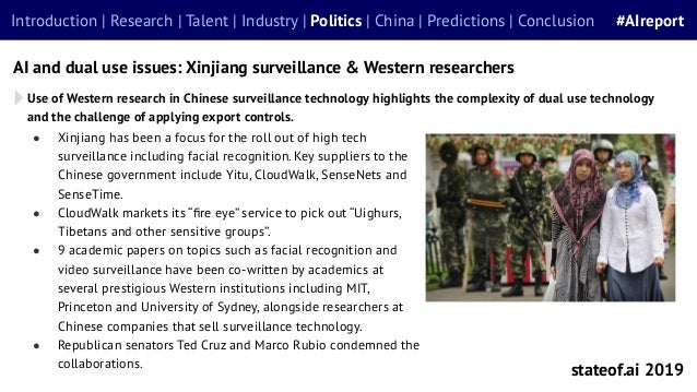 ● Xinjiang has been a focus for the roll out of high tech surveillance including facial recognition. Key suppliers to the ...