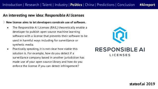 ● The Responsible AI Licenses (RAIL) theoretically enable a developer to publish open source machine learning software wit...