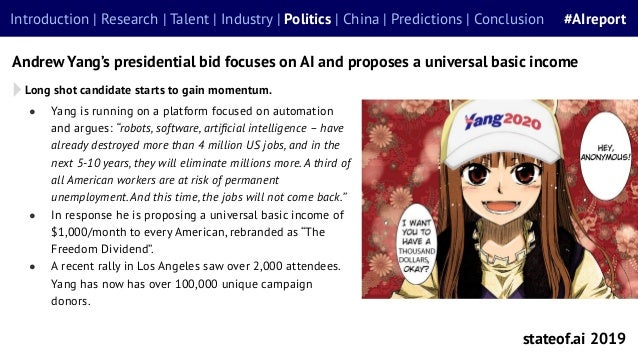 """● Yang is running on a platform focused on automation and argues: """"robots, software, artificial intelligence – have already..."""