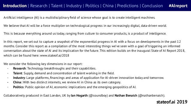 State of AI Report 2019 Slide 3