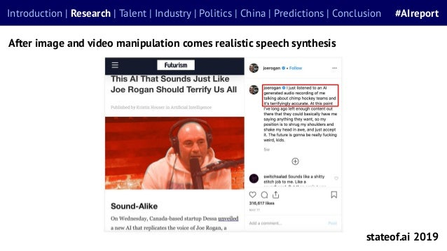 stateof.ai 2019 After image and video manipulation comes realistic speech synthesis Introduction | Research | Talent | Ind...