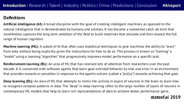 Definitions Artificial intelligence (AI): A broad discipline with the goal of creating intelligent machines, as opposed to t...