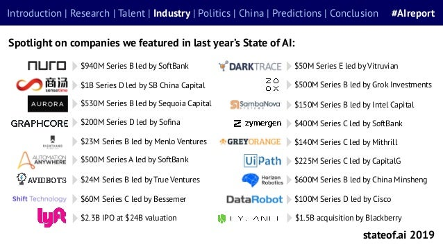 Spotlight on companies we featured in last year's State of AI: stateof.ai 2019 Introduction | Research | Talent | Industry...