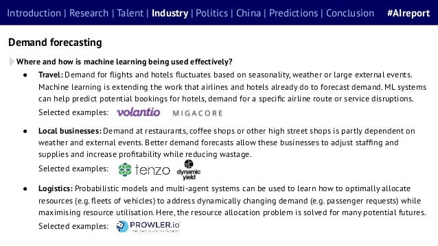 Introduction | Research | Talent | Industry | Politics | China | Predictions | Conclusion #AIreport Demand forecasting Whe...