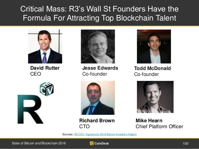 Critical Mass: R3's Wall St Founders Have the Formula For Attracting Top Blockchain Talent 100State of Bitcoin and Blockch...