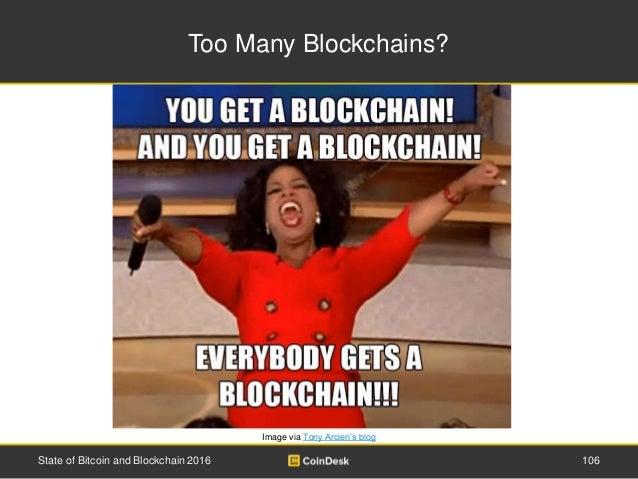 Too Many Blockchains? Image via Tony Arcieri's blog State of Bitcoin and Blockchain 2016 106